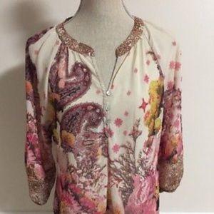 Anthropologie Fig & Flower floral blouse S EUC